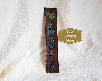 CUSTOM Leather Bookmark - Custom Made to Your Design , personalised