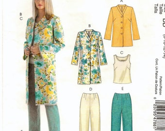 """A Jacket in 2 Length, Sleeveless Top, and Pants in 2 Lengths Pattern for Women: Uncut - Sizes 8-10-12-14, Bust 31-1/2"""" - 36"""" ~ McCall's 4788"""