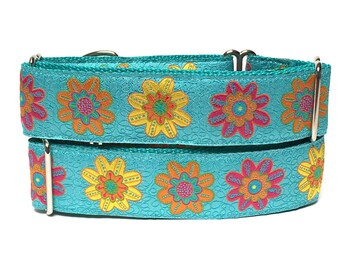martingale, dog collar, SPRING FEVER, Teal floral , Safety Collar, Greyhound Collar, Sighthound Collar, Adjustable, training collar