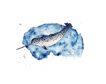 Narwhal in watercolour print