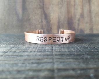RESPECT Cuff, Copper Bracelet Cuff, Personalized Jewelry, Custom Word Bracelet, Energized Jewels