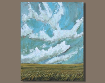 landscape painting, prairie painting, cloud painting, blue and white, field painting, vertical orientation, impressionist painting, Alberta