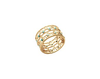 Le Bleu Double Ring, 18K Gold Plated Over Sterling Silver, Made in France, Free Shipping