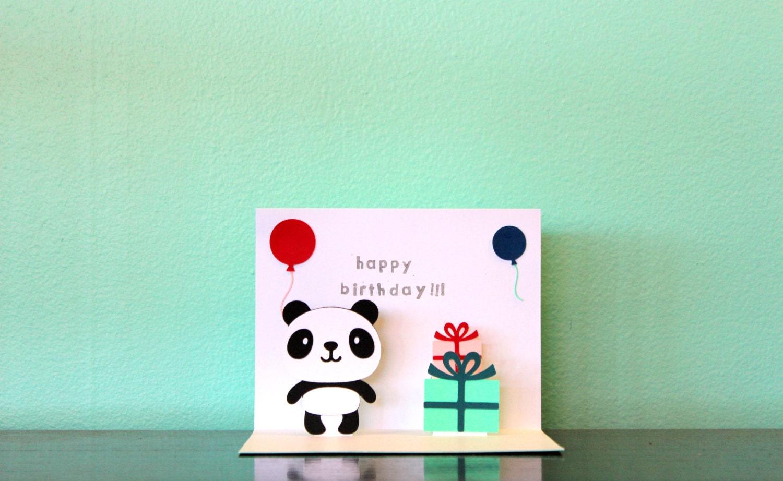 Card pop up panda card panda birthday card zoom bookmarktalkfo Image collections