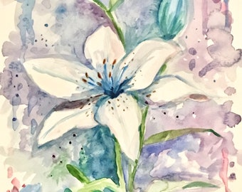 "Blue Lily original watercolor painting 11""x15"""