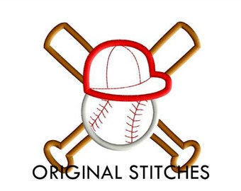 Crossed Bats Baseball Applique 5 Sizes Machine Embroidery Digital Design File  4x4 5x7 6x10 7x11 8x12