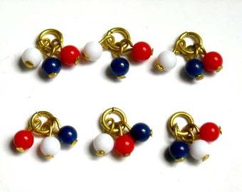 8 rot, weiß und blau Lucite Perlen - 24-13