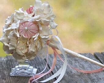 Beach Shell Bouquet  Pink Champagne Pale Peach Blush Starfish
