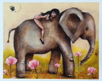 Girl on a Journey- Elephant print 5x7, 8x10, cute whimsical art