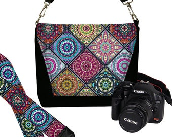 SET Dslr Camera Bag Purse and Camera Neck Strap for Nikon Canon Sony etc, Boho Bohemian  Colorful Mandala turquoise blue purple orange RTS