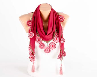 Turkish oya scarf , turkish yemeni , summer scarf with hand crocheted lace circles and tassel ,deep red