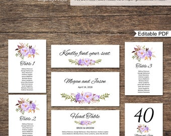Wedding Seating Chart Template, Seating Cards, Floral Wedding Table Plan, Purple, #A020, INSTANT DOWNLOAD, Editable PDF