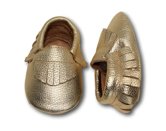 Gold Baby Moccasins // Gold Baby Moccasin // Gold Metallic Leather Mocassins // Baby Moccs // Gold Baby Mocassins