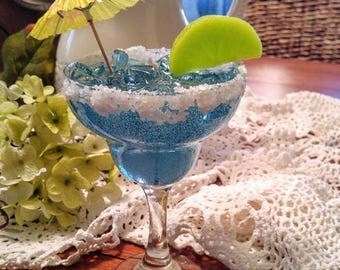 Blue Martini candle made with gel wax for a very cool effect in the dark!