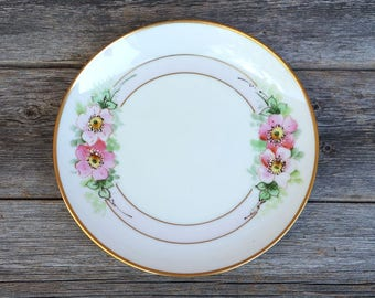 Vintage Stouffer Studio Hand Painted Plate Gold Trim Floral Ceramic