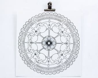Screen Print Artwork- Memento Doily, black and grey hand pulled silk screenprint, Limited Edition. Lace, doilies, skulls, candles, square