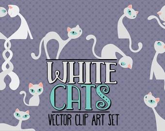 50%OFF - White cats/Elegant cats/Clip art set/Cat illustration/Design elements/Printable illustration/Stickers design