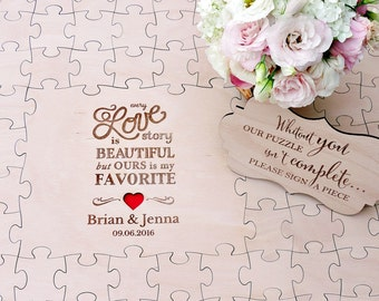 Wedding Guest Book Puzzle Custom Made Puzzle Wood Wedding Puzzle Love Story Puzzle Wedding Guestbook Rustic Wedding Guest Book Wooden Puzzle