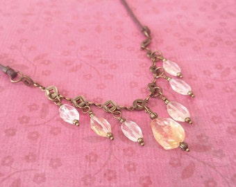 Beauty Gift Pale Yellow Faceted Citrine Gemstones on Gold-Plated Brass Chain and Brown Waxed Cotton Cord