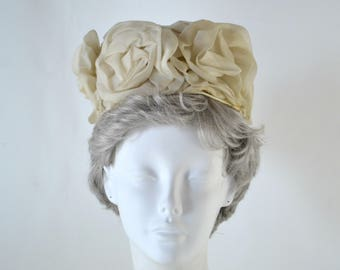 1960s Ivory Flower Pillbox/Bubble Hat, Needs TLC, Dress Up Box, Imagination Play