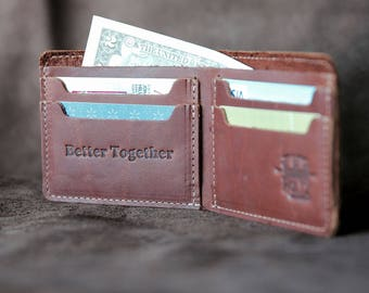 Personalized Fine Leather Bi-Fold bifold Wallet The Big Dixie Mens Brown Leather Wallets Gift for Men