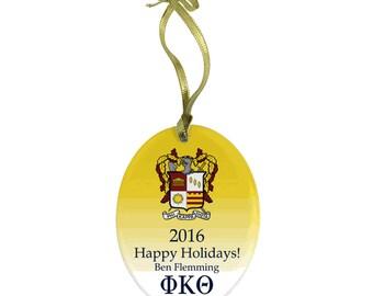Phi Kappa Theta Holiday Color Crest Glass Ornament