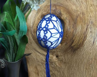 Lace decorated Easter egg. Blue. Handmade tatting lace. Easter ornament. Easter decor. Ornate egg. Basket. Easter gift. Mothers day gift.