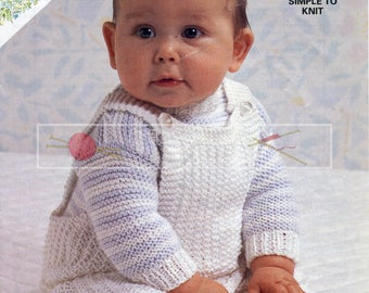 Baby Sweater Dungarees 16-22in DK Patons 7963 Vintage Knitting Pattern PDF instant download