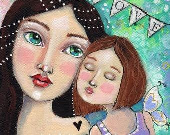 Mixed Media, mother's love,  Mother, Love, Original Art, Home Decor, Original painting, whimsical art, children's art