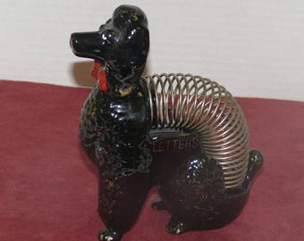 Poodle Wire Letter or Card Holder Ceramic -Desk Accessory