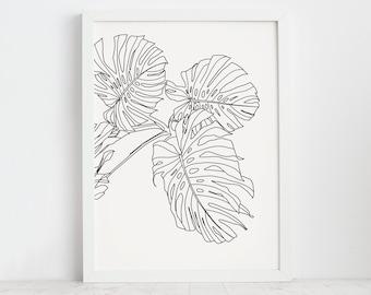 Wall Art Black And White Prints Modern Art Black And White Monstera Leaf Print Line Art Print Line Art Print