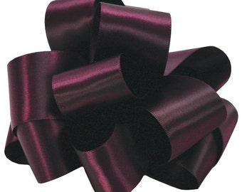 """Satin Ribbon, 2 1/4"""" wide, Double Face Eggplant Purple - TEN YARD ROLL - Offray Satin No. 16, dfs #284, Double Sided Satin Ribbon"""