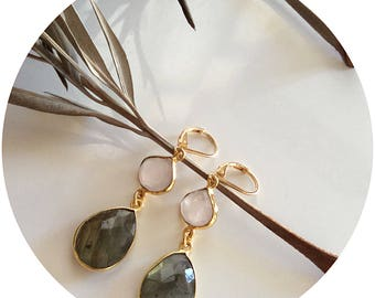 Labradorite earrings/ Teardrop earrings/ Pink quartz earrings/ Genuine gemstone earrings/ Dual gemstone earrings/ Statement earrings/ Gift