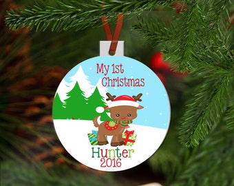 Personalized 1st Christmas Ornament - Babies 1st Christmas Ornament Personalized with Name & Year