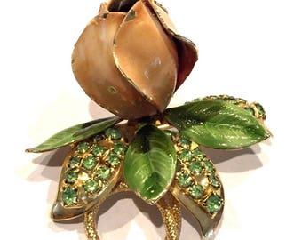 Vintage 1960's HOBE Brooch Pin Enamel Peach Flower