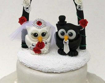 Custom wedding owl cake topper with arch and base, black, white and red wedding, personalized cake topper