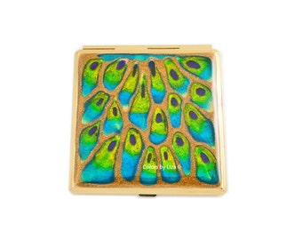 Square Compact Mirror Peacock Inspired Hand Painted Enamel Pocket Mirror Custom Colors and Personalized Options