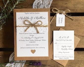 Rustic Wedding Invitation Invite Bundle - Vintage Lace and Twine SAMPLE