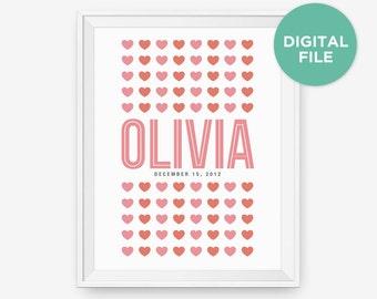 Printable Personalized Girl's Name Wall Art, Children Room Decor, Nursery Art, Baby Gift, Gift for Kid