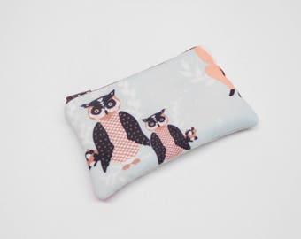aqua blue owl change purse, light blue owl coin purse, zipper pouch, zipper bag with owls, small wallet, small blue purse, woodland animals
