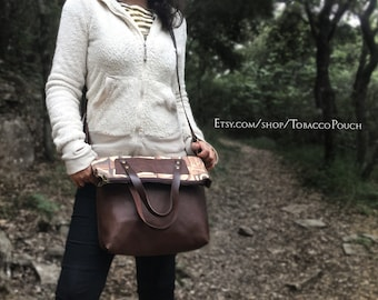 Leather Hand Bag, Shoulder bag, canvas leather bag, Large Leather bag, Vintage Brown leather bag, handmade Tote bag, ready for shipping
