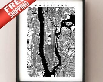 Manhattan Map Print - Black and White - New York Poster