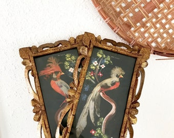 Vintage Carved Wood Framed Mexican Feather Bird Art • Made in Mexico • Bohemian Decor