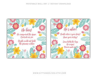 Easter Resurrection Sunday printable wall art - He Lives lyrics - He's alive!  Death where is your sting? Grave your victory? - diptych set