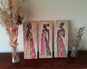Africa, African girls, Art Print, Wall Decor, Handcrafted from recycled chipboard, Wall art, No frame, African art, Female Art