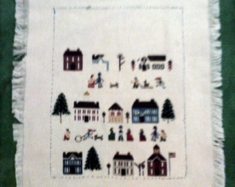Counted Cross Stitch, Collage of House Styles, Evergreens, Federal House, Village, Country Scene, Villager Scene, Meeting House, Church, DiY
