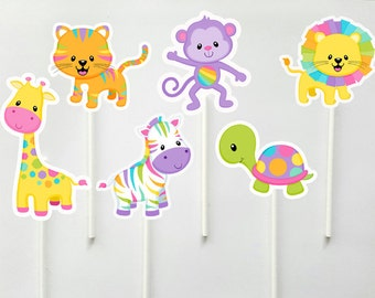Jungle Animal Cupcake Toppers - Zoo Animal Cupcake Toppers - Safari Animal Cupcake Toppers (71017314A)
