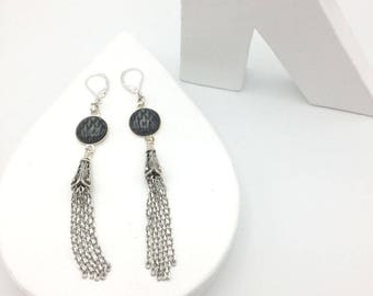 Black and silver CASCADE earrings