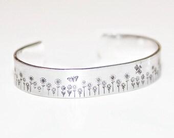 Flower Garden Cuff Hand Stamped