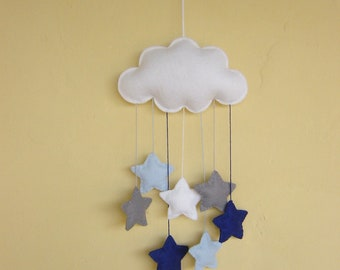 Grey and blue, nursery mobile, white cloud, stars, vegan friendly, can be personalised